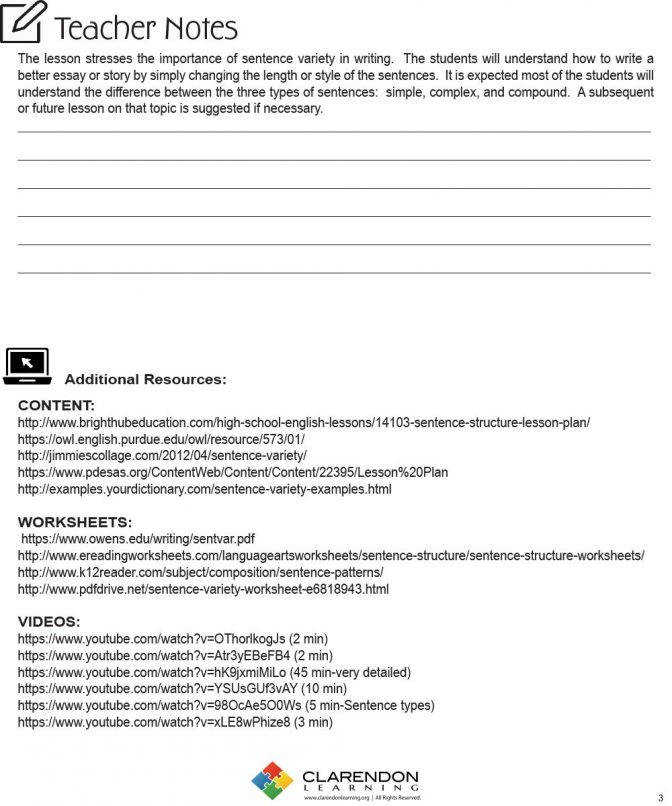 Sentence Variety Lesson Plan Clarendon Learning Plans For Structure High School Work Lesson Plan For Sentence