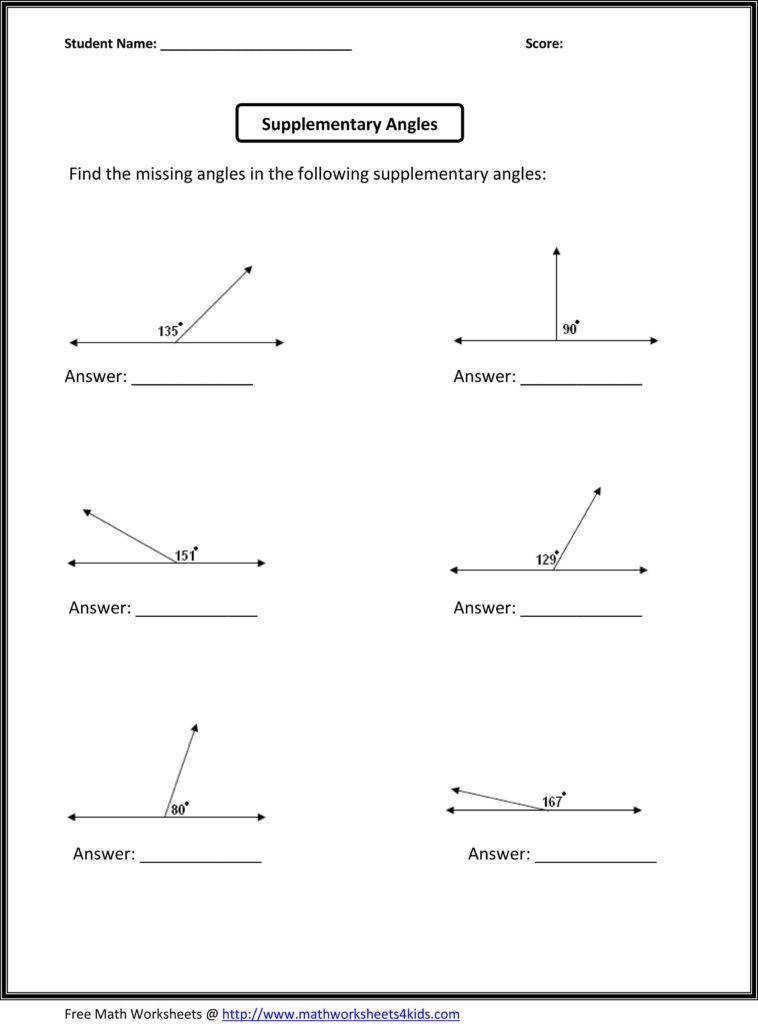 Free Geometry Worksheets for High School and Supplementary Angles Classroom Madness Pinterest Math