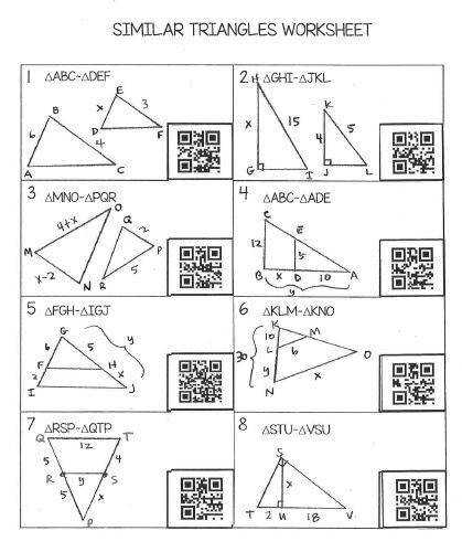 Similar Triangles Worksheet with QR Codes FREE High School GeometryHigh
