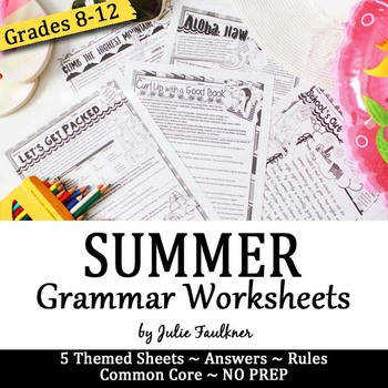Summer Grammar Worksheets NO PREP Middle and High School