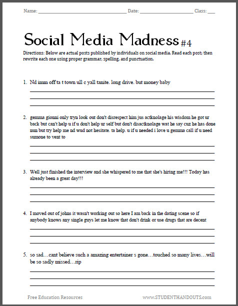 Awesome Collection of Grammar Worksheets High School About Download