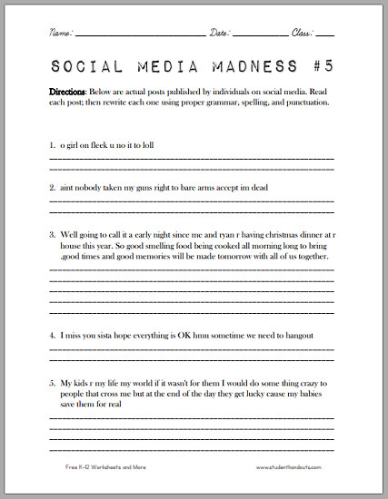 Social Media Madness Worksheet 5 Another fun worksheet which asks high school students to