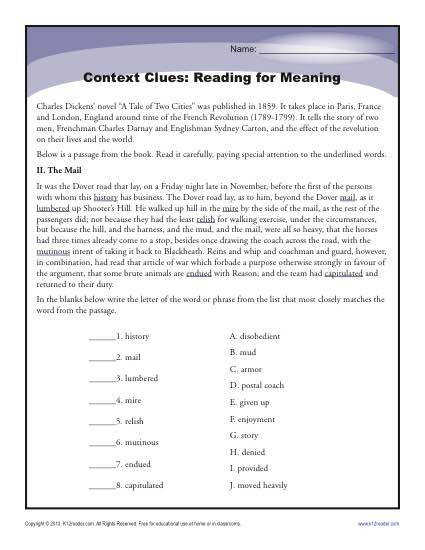 High School Context Clues Worksheet Activity Reading for Meaning