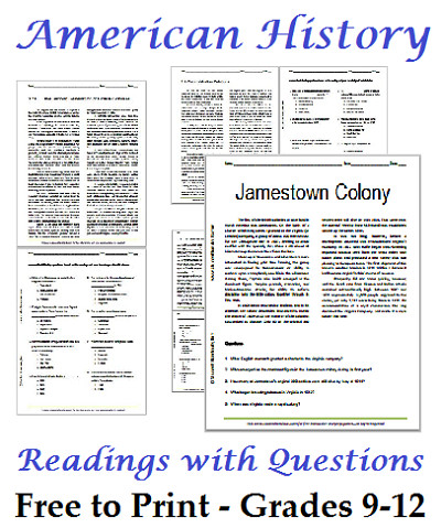 United States History Readings with Questions for High School Grades 9 12