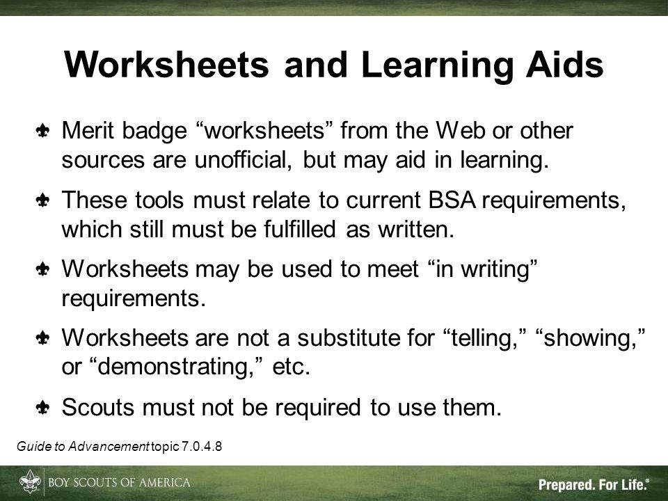Worksheets and Learning Aids