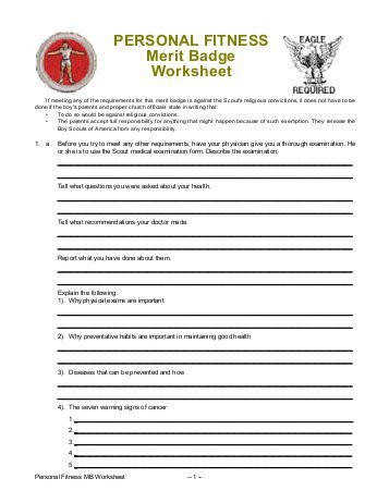 Personal fitness merit badge worksheet answers worksheets