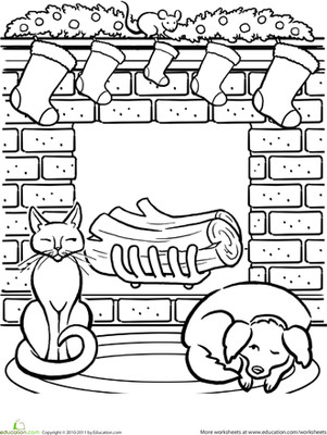 Free Coloring Page First Grade Holiday Coloring Pages At Christmas Fireplace Worksheet