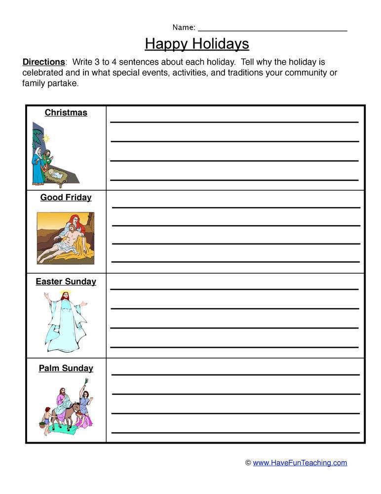 Holiday Worksheet Christian Holidays