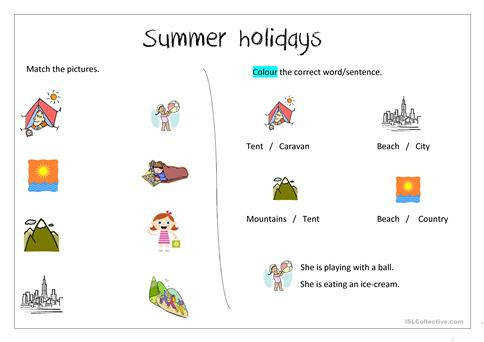 Summer holiday worksheets