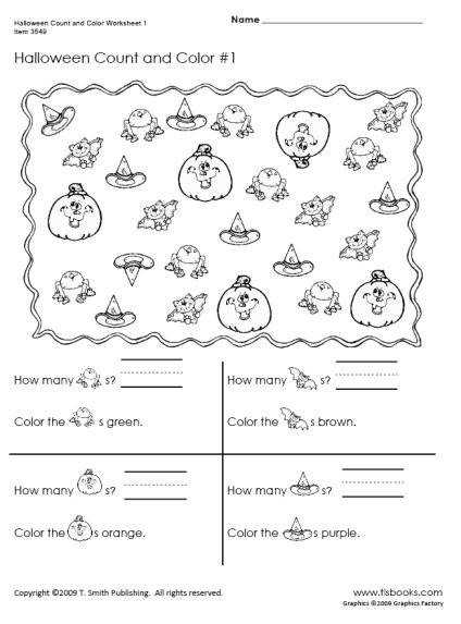 image of Halloween Count and Color Worksheet 1