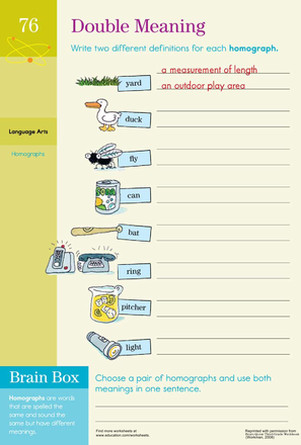 Third Grade Reading & Writing Worksheets Double Meaning Practicing Homographs