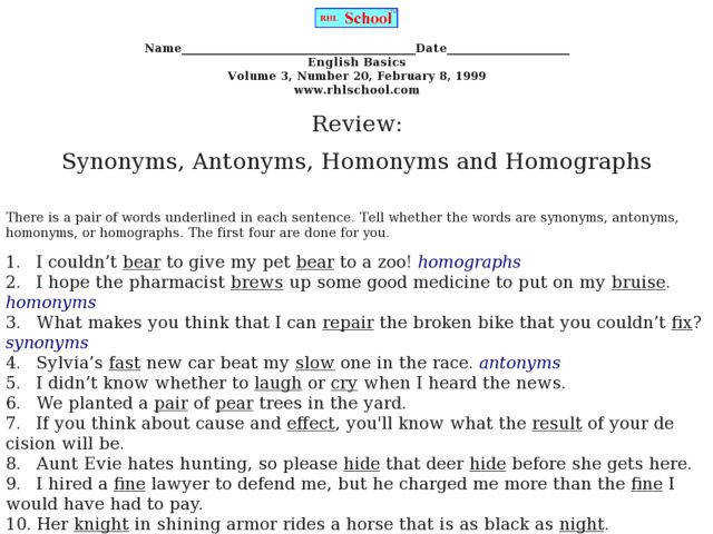 Review Synonyms Antonyms Homonyms and Homographs 2nd 3rd Grade Worksheet