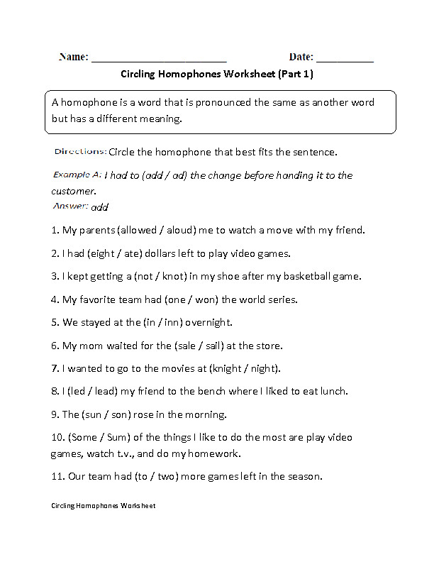 Circling Homophones Worksheet Part 1