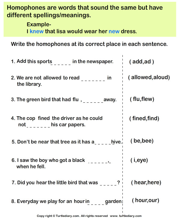 plete the Sentences with Correct Homophone