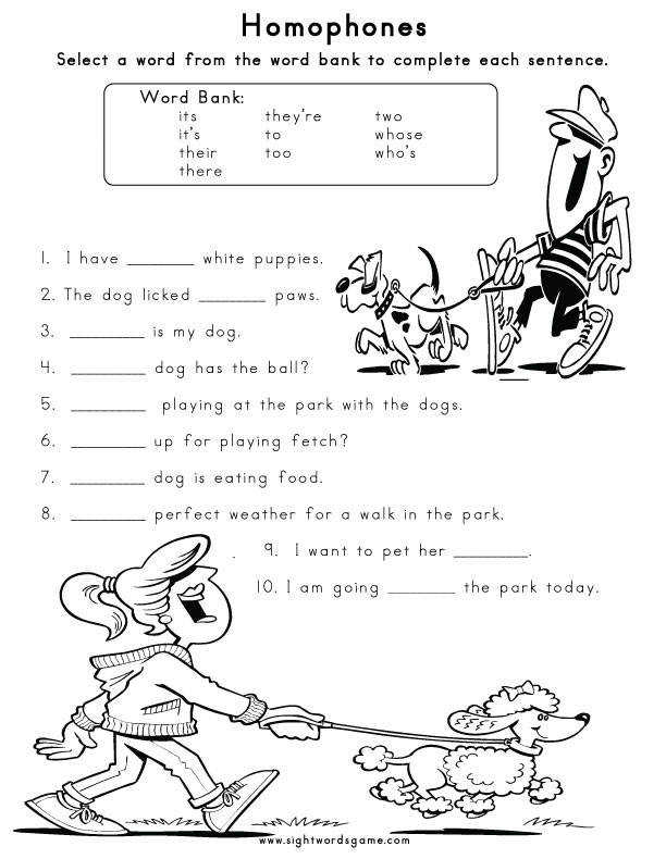 Homophone Worksheet 1