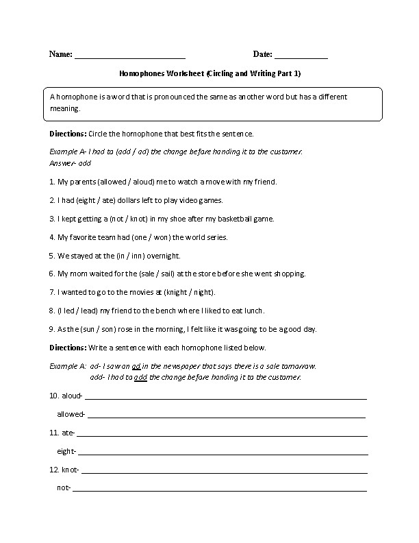 Homophones Worksheet