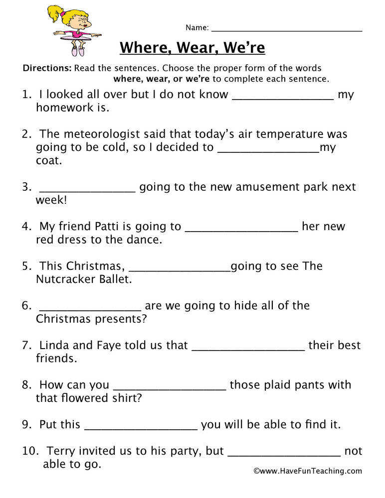 Homophone Worksheet – Where Wear We re