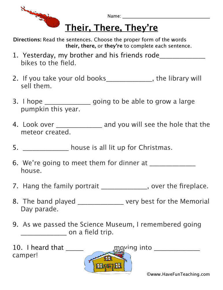 Homophone Worksheet – Their There They re