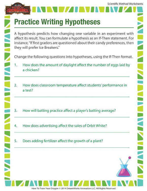 Practice Writing Hypotheses Worksheet – Scientific Method Printables for Kids