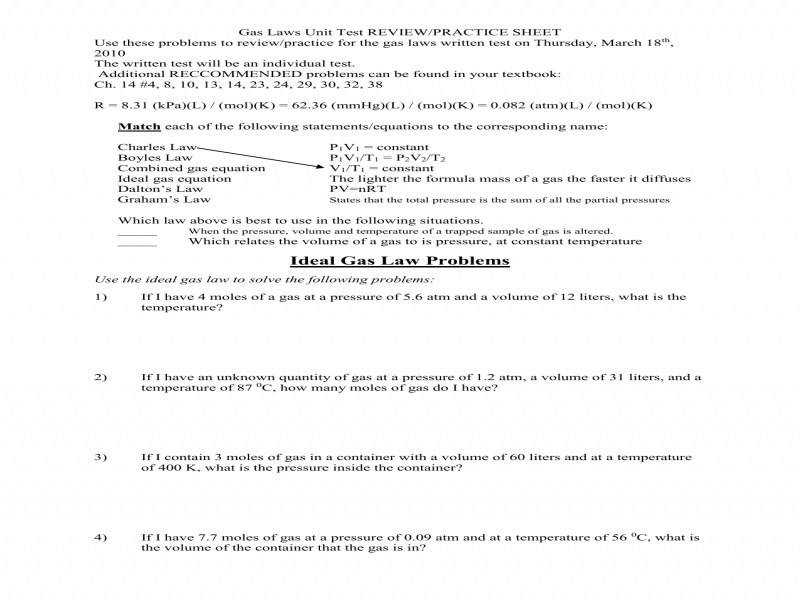 Ideal Gas Law Practice Worksheet  Homeschooldressage.com