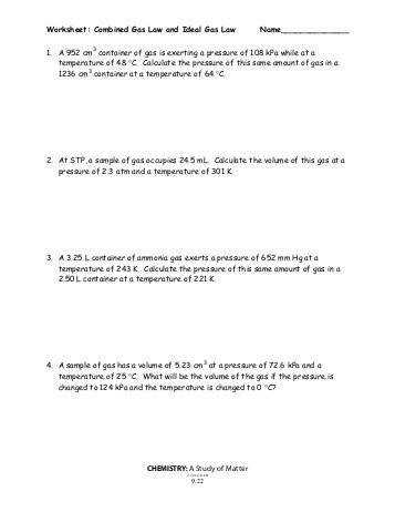 CHM142 bined Gas Law Worksheet If the sun heats my car from a