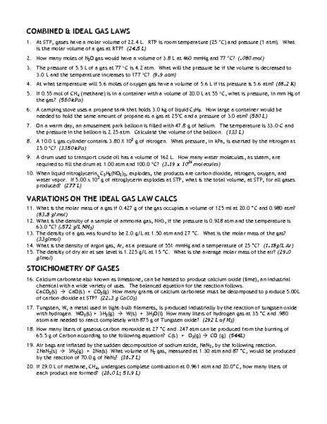 Gas Laws Worksheet Samsungblueearth
