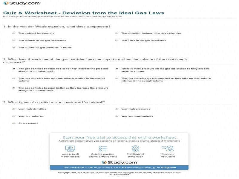 Quiz & Worksheet Deviation From The Ideal Gas Laws
