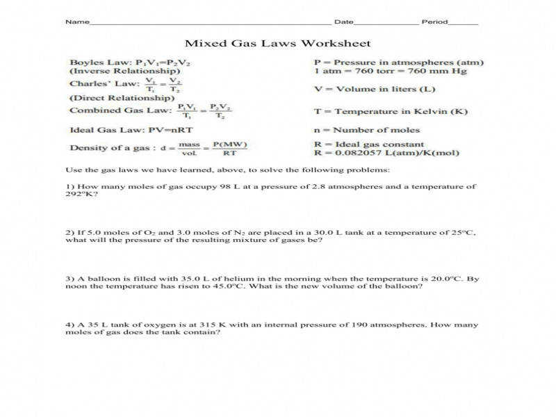 Related Post of Mixed Gas Laws Worksheet