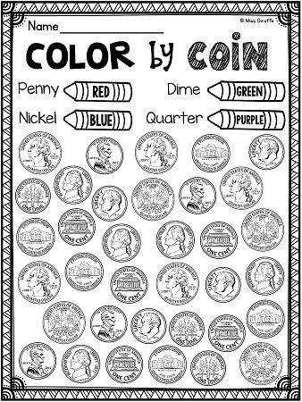 Awesome identifying coins pennies nickels dimes quarters worksheets centers and money