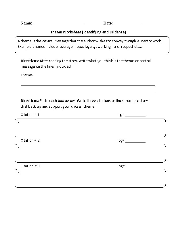 Identifying and Evidence Theme Worksheet