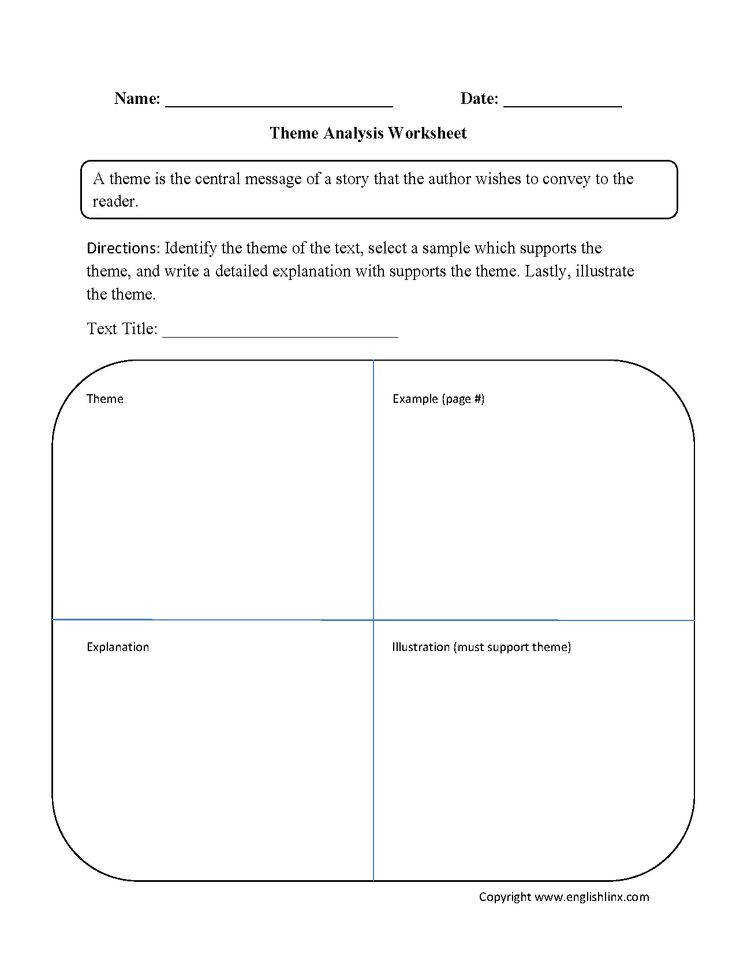 This theme worksheet instructs the student to analyze the theme of a given text The student will analyze how the theme interacts with the text