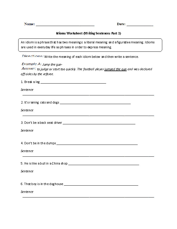 Idioms Worksheet