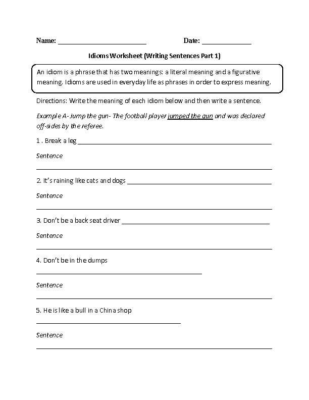 Idioms Worksheet Writing Sentences Part 1 Intermediate