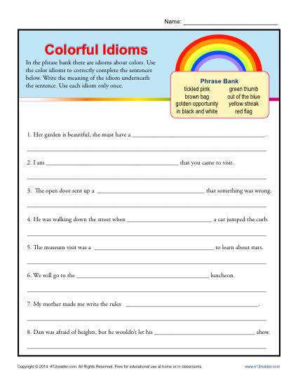 Colorful Idioms Worksheet Practice Activity