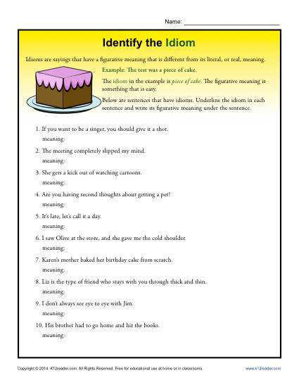 Identify the Idiom Worksheet Practice Activity