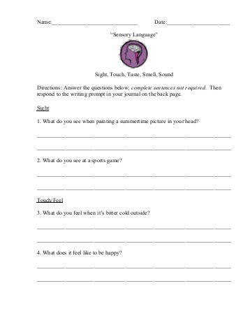 Sensory Language Questions Worksheet