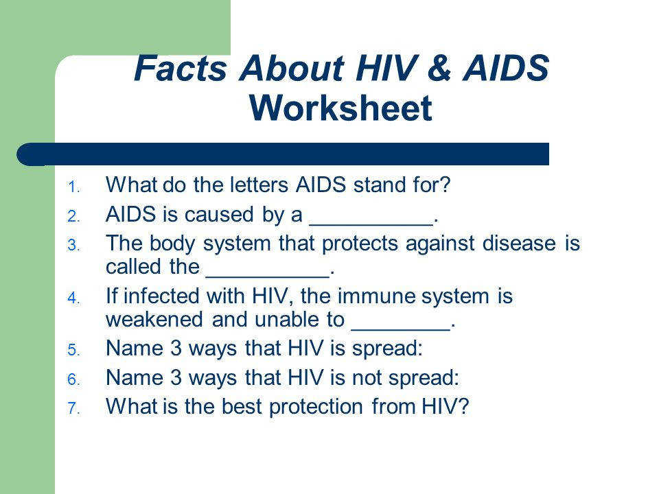 Facts About HIV & AIDS Worksheet