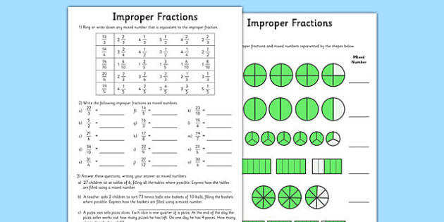 Improper Fractions Worksheets improper fractions worksheets improper fractions