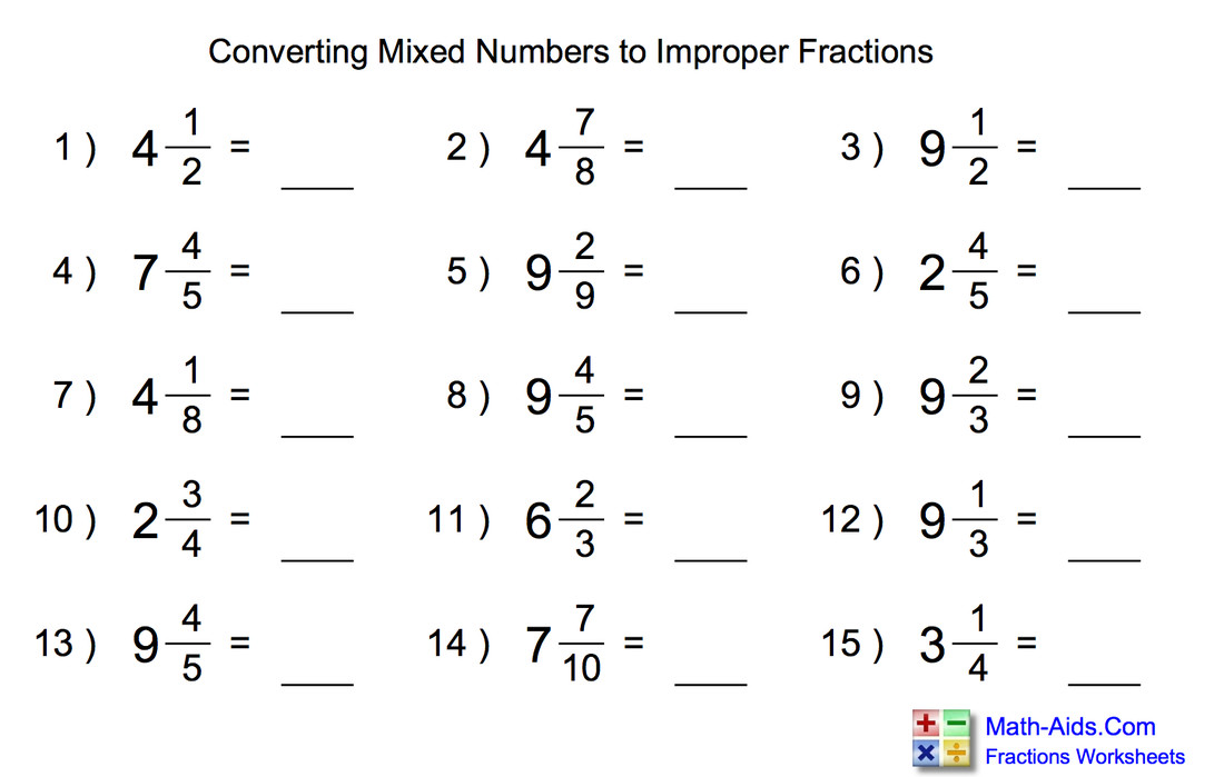 focus maths mrs h s website & Convert Mixed Numbers To Improper Fractions Worksheets