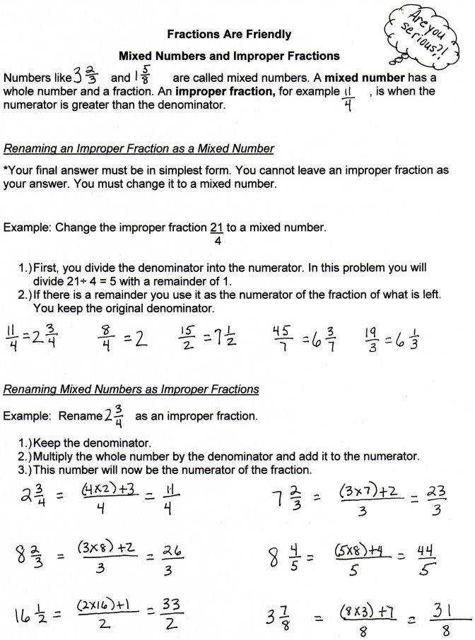 Worksheet Improper Fraction To A Decimal Wosenly Free Fractions And Mixed Numbers Worksheets Fract