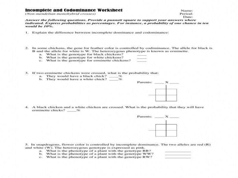 Incomplete And Codominance Worksheet Answers