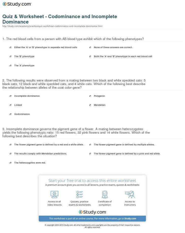Medium Size of Worksheet in plete Dominance And Codominance Practice Problems Worksheet Answers Blood Type Chart
