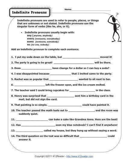 About this Worksheet We definitely think indefinite pronouns