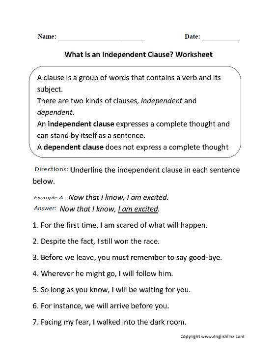 Independent Clause And Dependent Clause Worksheet