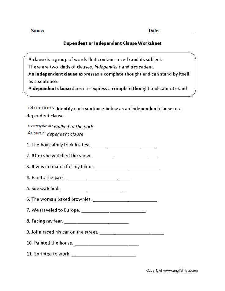 Independent and Dependent Clauses Worksheet  Homeschooldressage.com