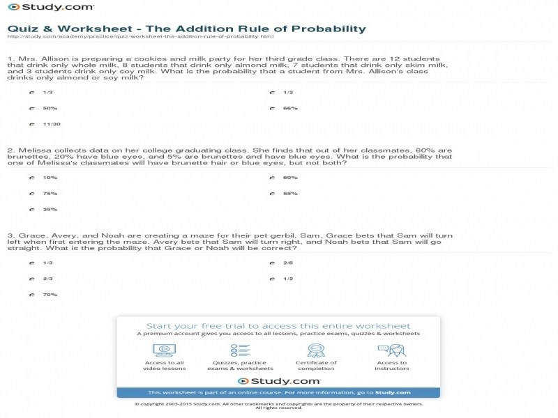Quiz & Worksheet The Addition Rule Probability