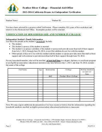 California Dream Act Independent Verification Worksheet