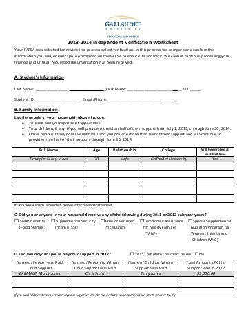 2013 2014 Independent Verification Worksheet Gallaudet University