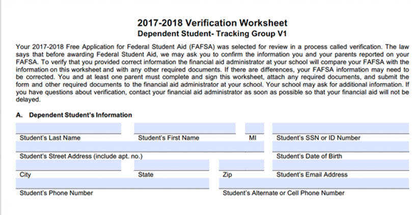 Independent Verification Worksheet