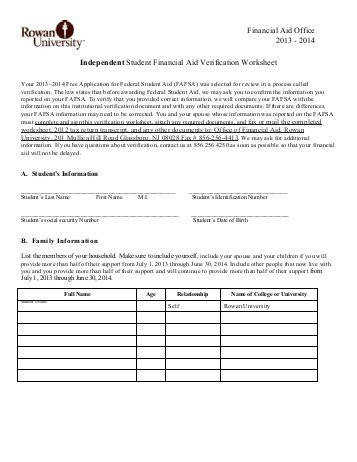 Independent Verification Worksheet 2013 2014 Rowan University
